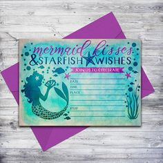 An easy, affordable way to get your mermaid invite!  Just download, print, and write in your party details! #mermaidparty #birthdayinvite