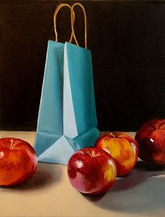 Claudia Kaufman ~ Apples Gone Shopping  oil on canvas  12x16