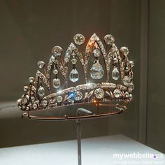 The famous Faberge tiara with tea-drop diamonds that were presented by Alexander I of Russia to Empress Josephine ~ The story of the tiara starts from Alexander I of Russia and Joséphine, ex-wife of Napoléon. They were friends, and Alexander presented Josephine tea-drop diamonds. In 1890 Faberge used diamonds to create tiara for descendants of Josephine's son, the Duke of Leuchtenberg. After WWI tiara was inherited by Count of Flanders. by connie