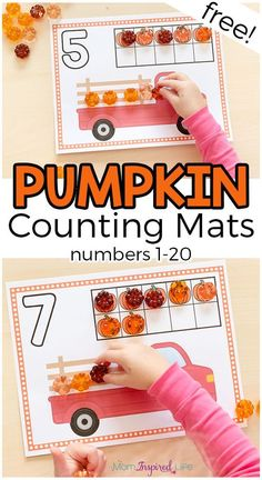 Fall Pumpkin Counting Mats These pumpkin counting mats are a great way to teach preschool and kindergarten students number sense and counting. A fun fall math activity! Fall Preschool Activities, Preschool Lessons, Teach Preschool, Number Activities, October Preschool Themes, Preschool Halloween, Counting Activities, Preschool Education, Preschool Printables