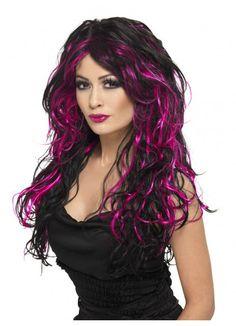 Buy Adult Black & Purple Gothic Bride Wig, available for Next Day Delivery. Adult Black & Purple Gothic Bride Wig with Waves. Purple Wig, Hair Color Pink, Purple Streaks, Hair Colors, Curly Purple Hair, Purple Highlights, Colours, Halloween Wigs, Halloween Fancy Dress