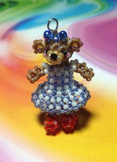 Miniature Japanese Seed Bead Brown Teddy Bear In Wizard Of Oz Dorothy Dress Doll Charm