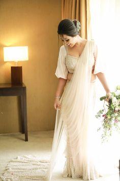 Super Bridal Saree Blouse Back Beautiful Ideas White Saree Wedding, Christian Wedding Sarees, Elegant Wedding Dress, Christian Bride, Saree Jacket Designs, Fancy Blouse Designs, Choli Designs, Dress Designs, Bridal Sari