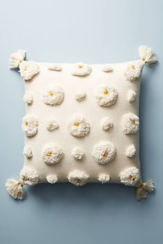 Tufted Amal Pillow at Anthropolgie Diy Pillows, Decorative Throw Pillows, Cushions, Handmade Pillows, Hobbies For Adults, Embroidery Designs, Punch Needle Patterns, Knit Pillow, Pillow Design