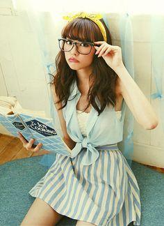 "Model / Mirei Kiritani. Japanese girls fashion magazine ""non-no"".   girlish & cute style. Skyblue stripe skirt."