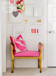 Gold Bench Hot Pink Decor