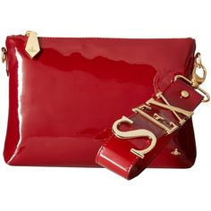 Vivienne Westwood Sex Bag (Bordeaux) Clutch Handbags ($198) ❤ liked on Polyvore featuring bags, handbags, burgundy, woven handbags, red patent handbag, burgundy patent leather handbag, patent leather handbags and red handbags