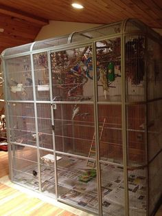 "85x61 Walk in Parrot Cage Aviary - Centurion Cages. 1/2"" bar sp. Color: PLATINUM"