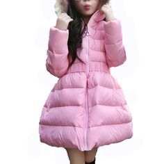 (32.52$)  Know more - http://aiskk.worlditems.win/all/product.php?id=32763089403 - 11.11 Winter Jackets For Girls New Fashion Candy Color Solid Girls Parka Coats Thick White Goose Warm Girls Long Down Coat