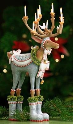 Patience Brewster Krinkles Dashaway Dasher Reindeer Christmas Figure would look great on the mantel or foyer during the holidays! Whimsical Christmas, Noel Christmas, All Things Christmas, Winter Christmas, Christmas Crafts, Christmas Decorations, Christmas Ornaments, Holiday Decor, Reindeer Christmas