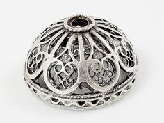 Large 22mm Ornate Filigree Matte Silver Plated by LylaSupplies, $3.50