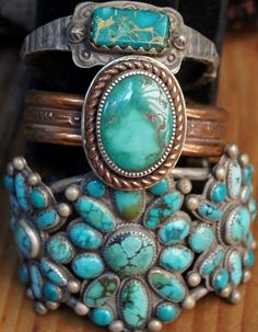 I love turquoise! Southwestern style turquoise bracelets by Greg. Bracelet Turquoise, Turquoise Jewelry, Silver Jewelry, Turquoise Accessories, Turquoise Cuff, Chunky Jewelry, Rustic Jewelry, Delicate Jewelry, Vintage Jewelry