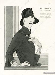 Caroline Reboux (Millinery) 1928 Jewels by Mauboussin Douglas Pollard Vintage Images, Vintage Art, Vintage Antiques, Fashion Photo, Fashion Art, 20s Fashion, Vintage Costumes, Vintage Outfits, Vintage Clothing