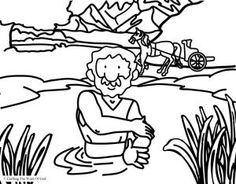 naaman is healed coloring page - Bible Story Coloring Pages Naaman