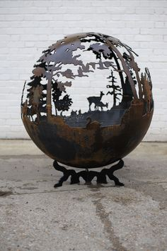 The fire pit company - wilderness ball fire pits art Fire Pit Bbq, Metal Fire Pit, Concrete Fire Pits, Diy Fire Pit, Fire Pit Backyard, Fire Pit Sphere, Fire Pit Gallery, Fire Pit Furniture, Metal Furniture