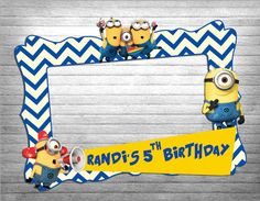 birthday party photo booth frame- super party- minion party- boys- girls - photo booth prop
