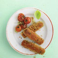 Zucchini-Kroketten mit Ofentomaten Rezept | Küchengötter