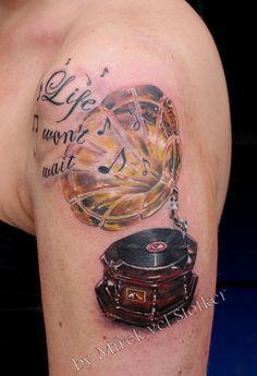 gramophone tattoo by Mirek vel Stotker by stotker, via Flickr