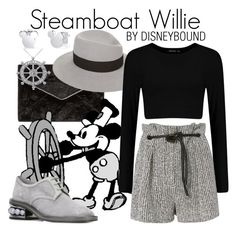 """Steamboat Willie"" by leslieakay ❤ liked on Polyvore featuring Rebecca Minkoff, Allurez, Nicholas Kirkwood, Disney, Maison Michel, 3.1 Phillip Lim, disney, disneybound and disneycharacter"