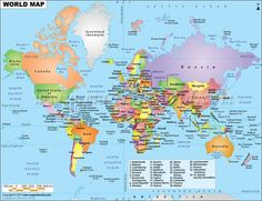 World Map showing Country Names in their Native Language | lite ...