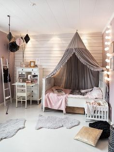 Kids Room Ideas For Girls Toddler For Boys Modern.Haus Kinderbett Pengura In Wei Aus Kiefer Massivholz. Pink And Grey Girls Bedroom Ideas Childrens Room . Home and Family Ideas Habitaciones, Little Girl Rooms, My New Room, Dream Bedroom, Magical Bedroom, Cozy Bedroom, Bedroom Loft, Home Decor, Climbing Rope