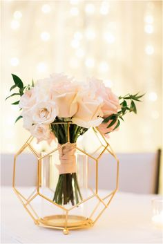 Geometric Reception Decor Inspiration from this Classic Wedding with Gold Centerpieces wedding centerpieces Classic Wedding in Atlanta with Blush and Neutral Details Wedding Table Centerpieces, Wedding Flower Arrangements, Flower Centerpieces, Reception Decorations, Centerpiece Ideas, Flowers Vase, Flower Bouquets, Graduation Centerpiece, Quinceanera Centerpieces