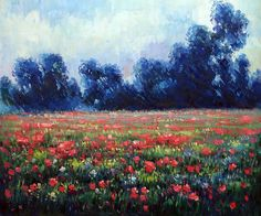 Monet - Poppies at Giverny.  Hand-painted canvas painting from overstockArt.com
