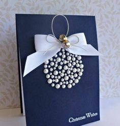 bastelideen weiß schleife weihnachten perlen weihnachtskugel
