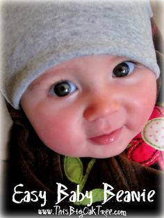 how to make a baby beanie. This Big Oak Tree: Easy Reversible Baby Beanie