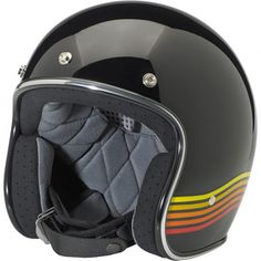 Biltwell Bonanza 3/4 DOT LE Spectrum Helmet - Black/Orange - DOT 3/4 Helmets