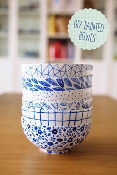 "Since colored melamine plates and bowls are so expensive, I bet I could ""paint"" a few myself and save a bundle and get that eclectic flea market feel IKEA Project Dining Room – DIY Painted bowls"
