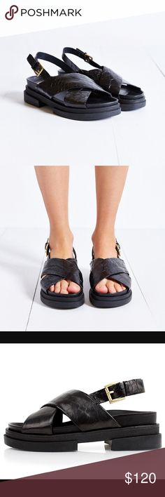 Ash leather sandals, 9 Ash black textured leather sandals.  Size is 39, I think they run a bit big, a true 9.  Worn just a couple of times for this reason, so they are in pretty great condition.  Will arrive in original box.  Smoke free, pet free home! Ash Shoes Sandals