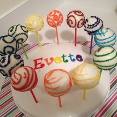 Rainbow cake pops Rainbow Cake Pops, Tower Stand, Awesome Cakes, Cakepops, Balls, Cupcakes, Parties, Baby Shower, Baking