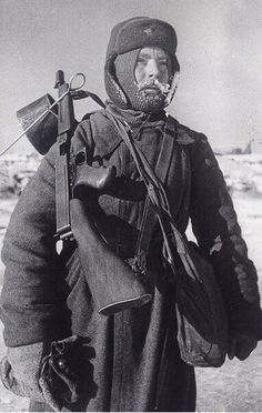 Russian soldier armed with an American Thompson sub machine gun, acquired by the Lend-Lease Act between the United States and Russia.