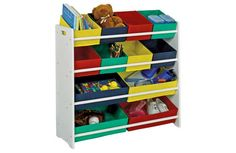 4 Tier White Child's Storage Unit with Bins. Toy storage for play room
