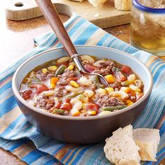Beef Macaroni Soup Recipe -You'll love my quick version of classic beef macaroni soup. Loaded with veggies and pasta, it's just as good as the original but without all the fuss. —Debra Baker, Greenville, North Carolina (all recipes beef) Macaroni Soup Recipes, Beef Macaroni, Macaroni Salad, Jambalaya, Korma, Biryani, Hot Pot, Crockpot Recipes, Cooking Recipes