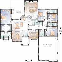 Home Plans HOMEPW08704 - 2,901 Square Feet, 4 Bedroom 3 Bathroom Florida Home with 3 Garage Bays