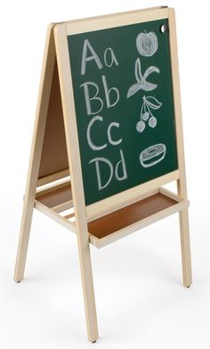 Childrens Easel With Magnetic Chalkboard, Write On White Board, 2 Sided, 2  Trays