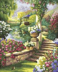 Frameless Pictures Cuadros Pictures On The Wall Painting By Numbers Canvas Painting Diy Digital Oil Painting Country views Garden Painting, Oil Painting On Canvas, Garden Art, Watercolor Paintings, Landscape Walls, Landscape Paintings, Pretty Pictures, Art Pictures, Images D'art