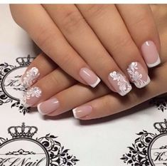 False nails have the advantage of offering a manicure worthy of the most advanced backstage and to hold longer than a simple nail polish. The problem is how to remove them without damaging your nails. Cute Nails, Pretty Nails, My Nails, Nails 2017, Long Nails, Bride Nails, Wedding Nails Design, Wedding Designs, Wedding Nails Art
