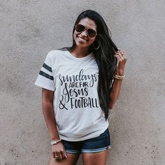 Sunday's are for Jesus and football! Sunday shirt. Women graphic tee. Graphic tee. www.graceandcrew.com use code NEW