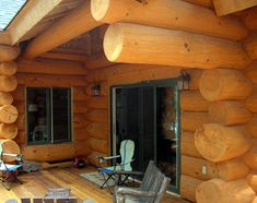 A deck off the master bedroom of a home I designed near Haliburton, Ontario.  #loghome #loghomedesign #loghomebuilders #ontariologhomes  For more photos of this or more of my designs, please check out my website, www.designma.com, my Design Page, www.facebook.com/loghomedesign
