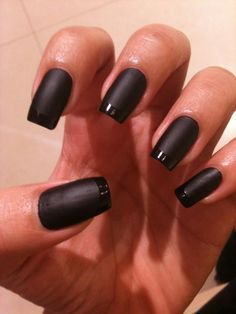 Black matte nails with shiny black tips. Black. Classic rock n roll nails