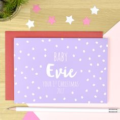 Our beautiful designed Babys First Christmas Card for a Baby Girl is a the perfect card for a special new baby on their Christmas. Baby's First Christmas Card, Babys 1st Christmas, Christmas 2017, Christmas Themes, Personalised Christmas Decorations, Personalized Christmas Gifts, Unique Christmas Gifts, Personalised Baby, Baby Design