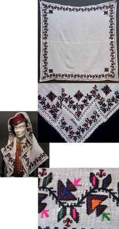 A large traditional 'yemeni' or 'yazma' (woman's head scarf) from the district of Mengen (province of Bolu).  Also called 'örtme' or 'pô'.  Rural, 1960-1990.  'Two-sided' embroidery ((identical on both sides of the fabric), yarn on cotton.  Edged with small cotton tassels.  (Inv.nr. yaz002 - Kavak Costume Collection - Antwerpen/Belgium).