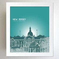New Jersey Skyline State Capitol Landmark - Modern Gift Decor Art Poster 8x10. $20.00, via Etsy.