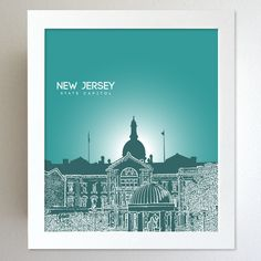 New Jersey Skyline State Capitol Landmark - Modern Gift Decor Art Poster 8x10. $20.00, via Etsy.