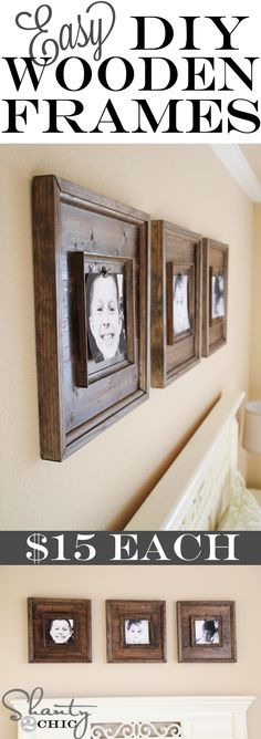 Cheap and Easy DIY Wooden Frames...LOVE this style!  Hey hubby, I've got a project for you.  :)  Shanty 2 Chic