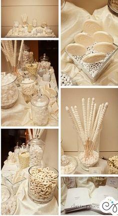 White wedding candy bar #whitewedding #candybar | Christen Jones Photography