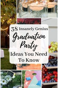 38 Graduation Party Ideas For The Best Party On The Block High school graduation party ideas perfect for your grad party. These decor ideas are perfect for the recent high school grad. Tips for the best food and games at your graduation party. Graduation Party Desserts, Outdoor Graduation Parties, Graduation Party Planning, College Graduation Parties, Graduation Party Decor, Grad Parties, Graduation Ideas, Birthday Parties, Vintage Graduation Party Ideas